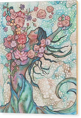 Wood Print featuring the painting Tidal Bloom by Tamara Phillips