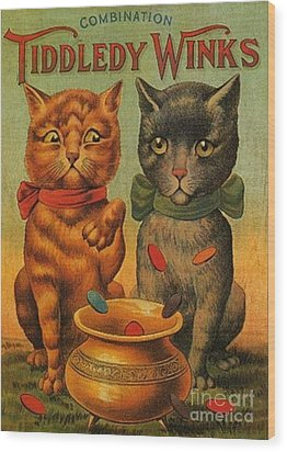 Tiddledy Winks Funny Victorian Cats Wood Print by Peter Gumaer Ogden Collection
