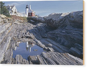Tide Pool Reflection Pemaquid Point Lighthouse Maine Wood Print by George Oze