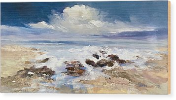 Wood Print featuring the painting Tidepool by Helen Harris