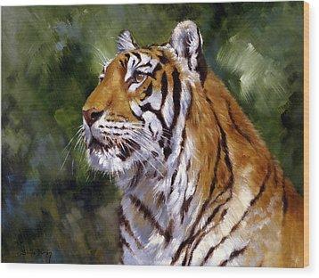 Tiger Alert Wood Print by Silvia  Duran