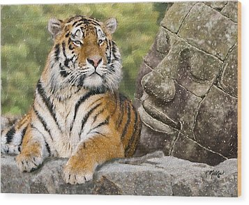 Tiger And Buddha Wood Print by Kathie Miller