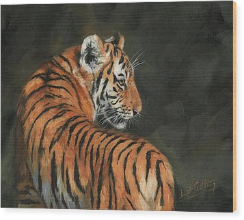 Wood Print featuring the painting Tiger At Night by David Stribbling