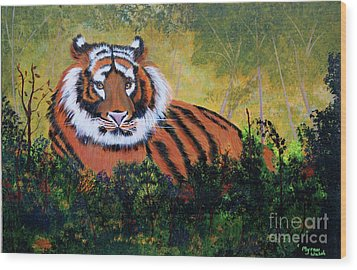 Wood Print featuring the painting Tiger At Rest by Myrna Walsh