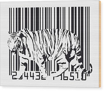 Tiger Barcode Wood Print by Michael Tompsett
