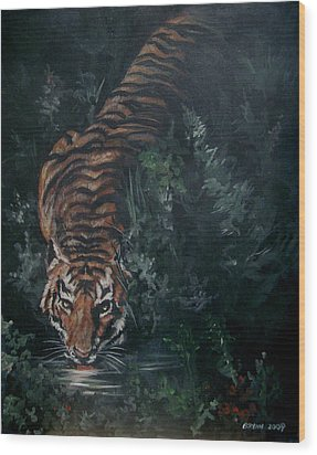 Wood Print featuring the painting Tiger by Bryan Bustard