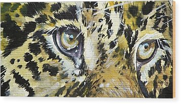 Wood Print featuring the painting Tiger Eyes by Kovacs Anna Brigitta