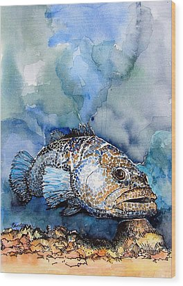 Wood Print featuring the painting Tiger Grouper by Terry Banderas