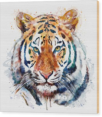 Tiger Head Watercolor Wood Print