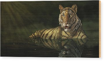 Tiger In The Water Wood Print by Kathie Miller
