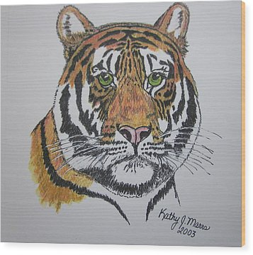 Tiger Wood Print by Kathy Marrs Chandler