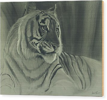 Wood Print featuring the digital art Tiger Light by Aaron Blaise