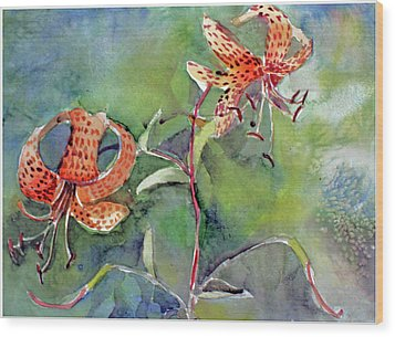 Wood Print featuring the painting Tiger Lilies by Mindy Newman