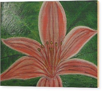Tiger Lilly Wood Print by Barbara Yearty