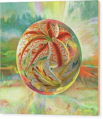 Wood Print featuring the digital art Tiger Lily Dream by Robin Moline