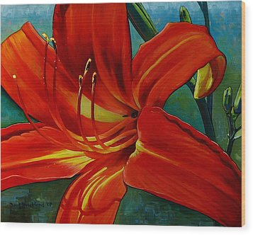 Tiger Lily Wood Print by Doug Strickland