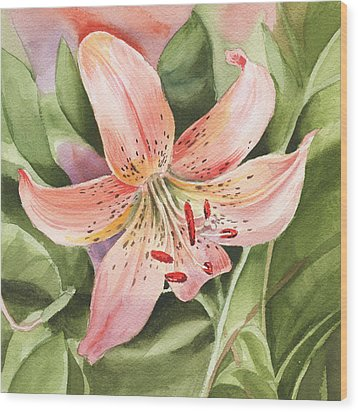 Tiger Lily Watercolor By Irina Sztukowski Wood Print
