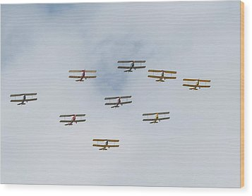 Wood Print featuring the photograph Tiger Moth Formation by Gary Eason