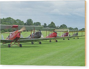 Wood Print featuring the photograph Tiger Moths Formation Shutdown by Gary Eason