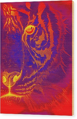Tiger On Fire Wood Print by Mayhem Mediums
