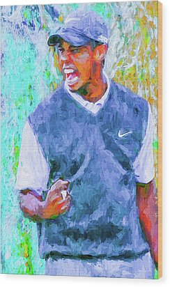 Wood Print featuring the photograph Tiger One Two Three Painting Digital Golfer by David Haskett