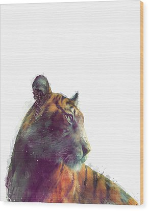 Tiger // Solace - White Background Wood Print by Amy Hamilton