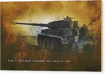Wood Print featuring the digital art Tiger Tank by John Wills