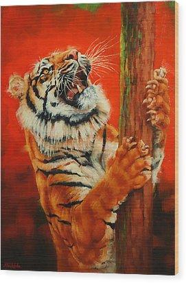 Tiger Tiger Burning Bright Wood Print