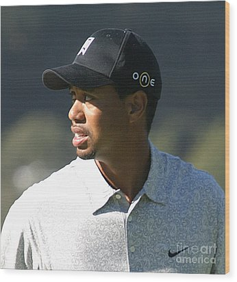 Tiger Woods Wood Print by Chuck Kuhn