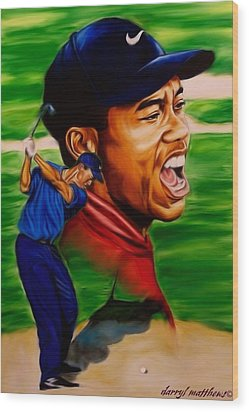 Tiger Woods. Wood Print by Darryl Matthews