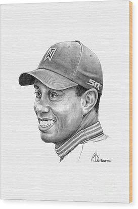 Tiger Woods Smile Wood Print by Murphy Elliott