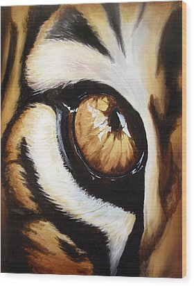 Tiger's Eye Wood Print by Lane Owen