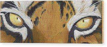 Tigers Eye Wood Print by Laurie Bath