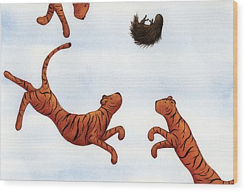 Tigers On A Trampoline Wood Print by Christy Beckwith