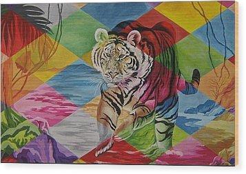 Tiger's Power Wood Print by Netka Dimoska