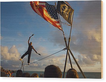 Tight Rope Walker In Key West Wood Print