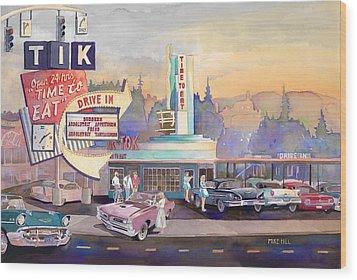 Tik Tok Drive-inn Wood Print by Mike Hill