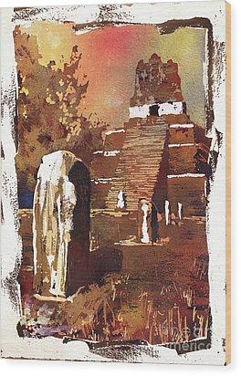 Wood Print featuring the painting Tikal Mayan Ruins- Guatemala by Ryan Fox