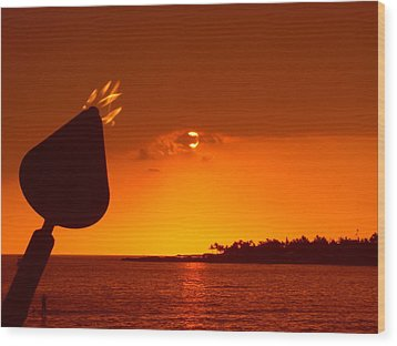 Tiki Lights In Kona Wood Print by Athala Carole Bruckner