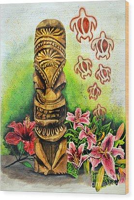 Tiki Still Life 2 Wood Print