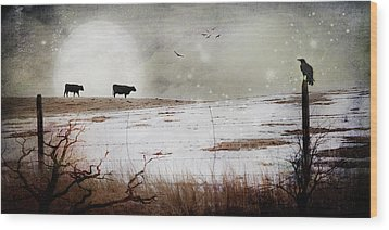 Wood Print featuring the photograph 'til The Cows Come Home by Theresa Tahara