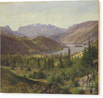 Tile Fjord Wood Print by Louis Gurlitt