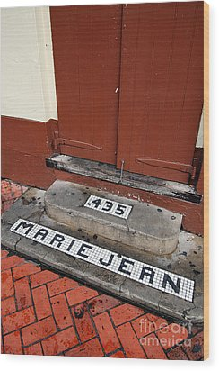 Tile Inlay Steps Marie Jean 435 Wooden Door French Quarter New Orleans Wood Print by Shawn O'Brien