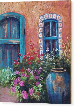 Tiled Window Wood Print by Candy Mayer