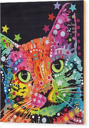 Tilted Cat Warpaint Wood Print by Dean Russo