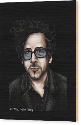 Tim Burton Wood Print by Kristen Fogarty