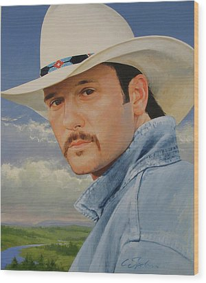Tim Mcgraw Wood Print