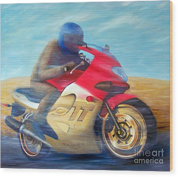Time And Space Equation - Triumph 600tt Wood Print by Brian  Commerford