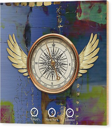 Wood Print featuring the mixed media Time Flies by Marvin Blaine