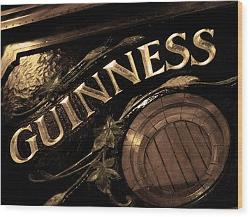 Time For A Guinness Wood Print by Sheryl Burns